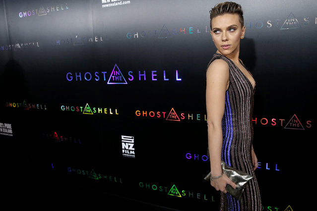 """Actor Scarlett Johansson poses as she arrives for the premiere of the film """"Ghost In The Shell"""" in New York City, New York, U.S., March 29, 2017. (Photo by Mike Segar/Reuters)"""