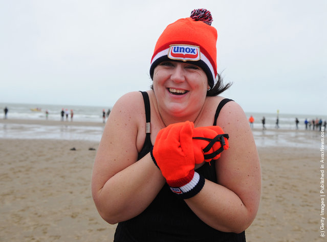 Dutch Swimmers Brave The North Sea For New Years Day Dip