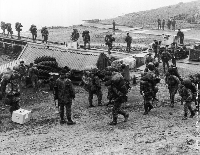 A British military camp on the Falkland Islands during the conflict