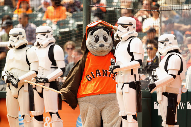 San Francisco Giants mascot Lou Seal stands with Stormtroopers before their game against the Arizona Diamondbacks at AT&T Park on September 4, 2011 in San Francisco, California. (Photo by Ezra Shaw/Getty Images)