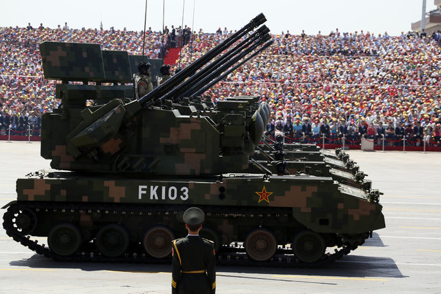 PGZ-07 twin 35mm self-propelled anti-aircraft guns take part in a parade commemorating the 70th anniversary of Japan's surrender during World War II held in front of Tiananmen Gate in Beijing, Thursday, September 3, 2015. (Photo by Ng Han Guan/AP Photo)
