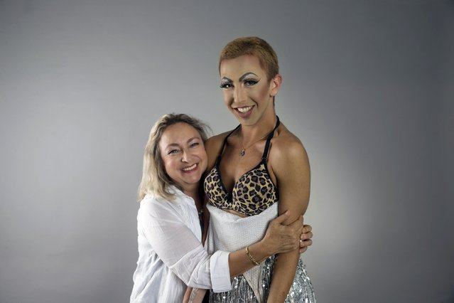 Drag queen Yakov Shapiro (R), who goes by the stage name Emily Rose, and his mother Olga Zhukov pose for a photo in a studio in Tel Aviv June 8, 2015. (Photo by Baz Ratner/Reuters)