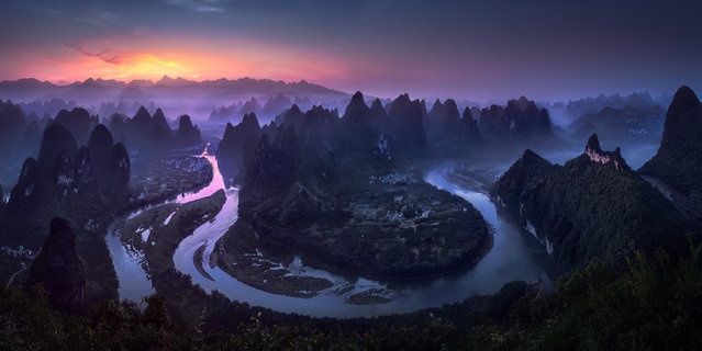 """The Epson International Pano awards showcase the work of the best panoramic photographers from around the world. Here: """"Good Morning Damian Shan"""". The overall winner, and open award winner, in the nature/landscape category, is a shot of the Li river in Guangxi province, China. (Photo by Jesus M. Garcia/Epson International Pano Awards 2017)"""