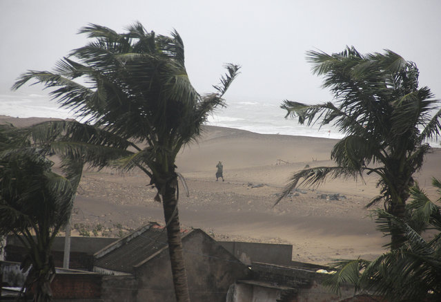 A man walks as strong winds blow along a beach in Gopalpur in Ganjam district in Odisha October 12, 2014. (Photo by Reuters/Stringer)