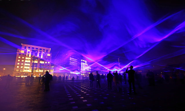 Waterlicht by Daan Roosegaarde in Granary Square as part of the Lumiere London Light Festival in London, England on January 18, 2018. (Photo by Paul Brown/Rex Features/Shutterstock)