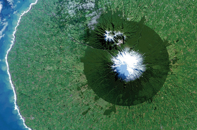 Egmont National Park in New Zealand with Mt. Taranaki at its center is seen in a Landsat 8 satellite image. (Photo by Reuters/NASA/USGS)