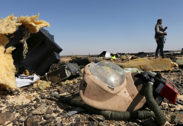 A debris from a Russian airliner is seen at its crash site at the Hassana area in Arish city, north Egypt, November 1, 2015. (Photo by Mohamed Abd El Ghany/Reuters)