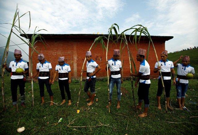 Devotees holding sugarcane sticks take part while celebrating Shikali festival at Khokana village in Lalitpur, Nepal October 7, 2016. (Photo by Navesh Chitrakar/Reuters)