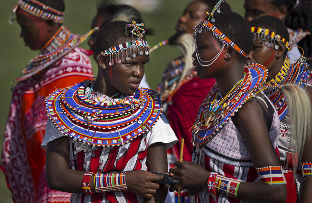 Young Maasai women arrive to support the young warriors from their village at the annual Maasai Olympics in the Sidai Oleng Wildlife Sanctuary near to Mt Kilimanjaro, in southern Kenya Saturday, December 13, 2014. (Photo by Ben Curtis/AP Photo)
