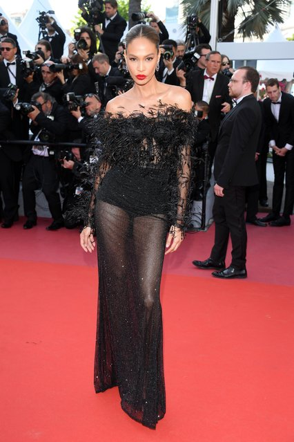 "Joan Smalls attends the screening of ""Girls Of The Sun (Les Filles Du Soleil)"" during the 71st annual Cannes Film Festival at Palais des Festivals on May 12, 2018 in Cannes, France. (Photo by Venturelli/WireImage)"