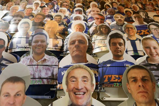 Cardboard cut outs of fans in the stands before the Sky Bet League Two match between Colchester United and Cheltenham Town at JobServe Community Stadium on December 29, 2020 in Colchester, England. (Photo by Jacques Feeney/Getty Images)