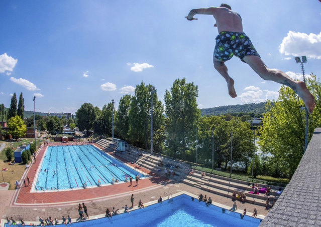 A man jumps into a public pool in Untertuerkheim, southern Germany, Monday, July 30, 2018. (Photo by Sebastian Gollnow/DPA via AP Photo)