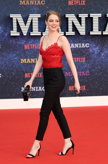 """Emma Stone attends the World premiere of the new Netflix series """"Maniac"""" at Southbank Centre on September 13, 2018 in London, England.  (Photo by Karwai Tang/WireImage)"""