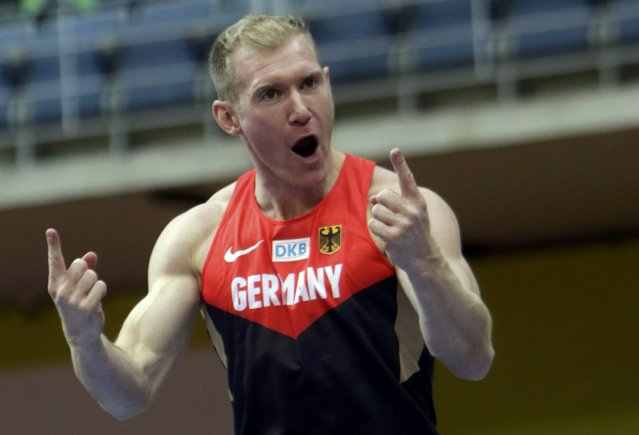 Arthur Abele of Germany reacts after competing in the men's heptathlon pole vault event during the European Indoor Championships in Prague March 8, 2015. REUTERS/David W Cerny (CZECH REPUBLIC  - Tags: SPORT ATHLETICS)
