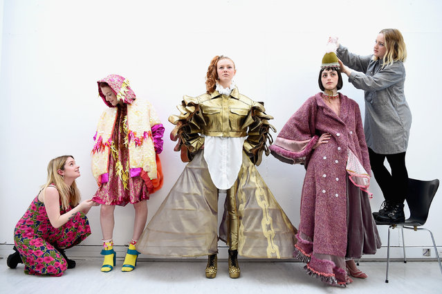 University of Edinburgh fashion students Kikie McKenzie, Alana Hilton, Olivia Bright, Julie Mills and Heather Dooley showcase their work created for the Edinburgh college of Art fashion show on March 18, 2015 in Edinburgh, Scotland. (Photo by Jeff J. Mitchell/Getty Images)