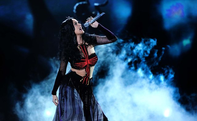 "Perry performs ""Dark Horse"" at the 56th annual Grammy Awards. (Photo by Matt Sayles/Invision)"