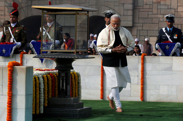 India's Prime Minister Narendra Modi pays his respects at the Mahatma Gandhi memorial on Gandhi's death anniversary at Rajghat in New Delhi, India January 30, 2017. (Photo by Adnan Abidi/Reuters)