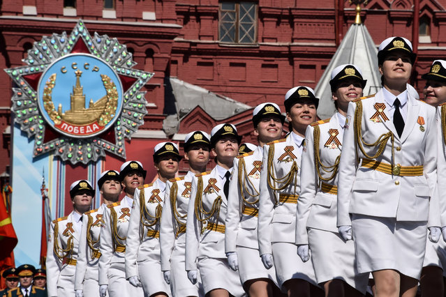 Russian servicewomen march at Red Square during the Victory Day military parade in Moscow on May 9, 2016. Russia marks the 71st anniversary of the Soviet Union's victory over Nazi Germany in World War II. (Photo by Kirill Kudryavtsev/AFP Photo)