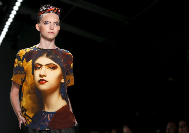 A model presents a creation by Rebekka Ruetz at Berlin Fashion Week Spring/Summer 2016 in Berlin, Germany, July 8, 2015. (Photo by Fabrizio Bensch/Reuters)