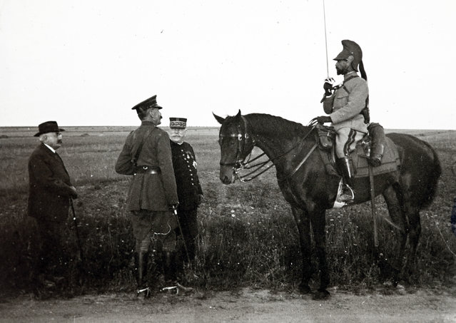 An archive picture shows Field Marshal Horatio Herbert Kitchener (2nd L) meeting French General Albert Baratier (R), on horseback, as French Marshal Joseph Joffre looks on (2nd R), on the Champagne front, Eastern France in 1915. (Photo by Collection Odette Carrez/Reuters)