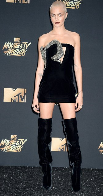 Cara Delevingne arrives at the 2017 MTV Movie And TV Awards at The Shrine Auditorium on May 7, 2017 in Los Angeles, California. (Photo by Broadimage/Rex Features/Shutterstock)