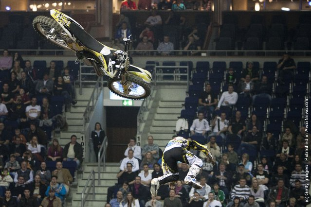 Maikel Melero crashes as he races at the Night of the Jumps freestyle motocross acrobatics at O2 arena