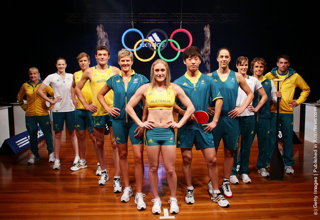 Australian Olympic Athletes pose during the adidas 2012 Australian Olympic Games competitor uniform launch at Sydney Olympic Park Sports Centre