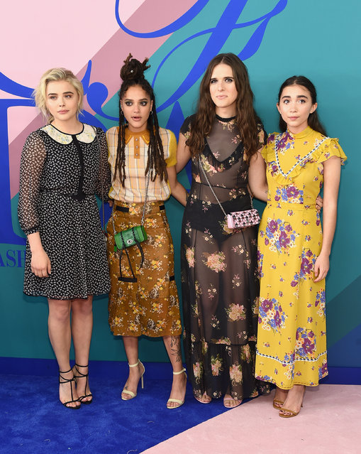 (L-R) Chloe Grace Moretz, Sasha Lane, Hari Nef, and Rowan Blanchard attend the 2017 CFDA Fashion Awards Cocktail Hour at Hammerstein Ballroom on June 5, 2017 in New York City. (Photo by Jamie McCarthy/WireImage)