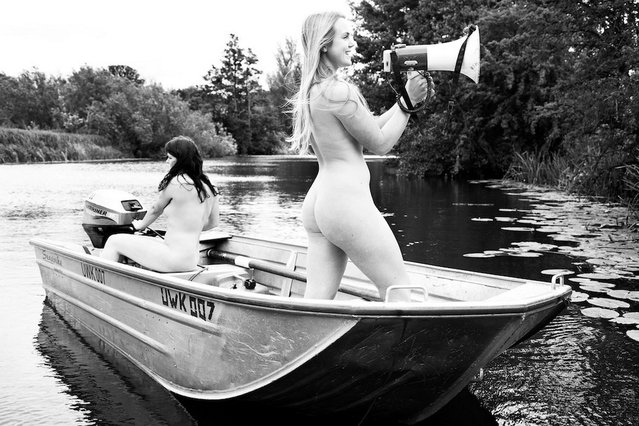 A Rowing Team who Bared All for a Charity Calendar. (Photo by 2014 Women's Naked Rowing Calendar)