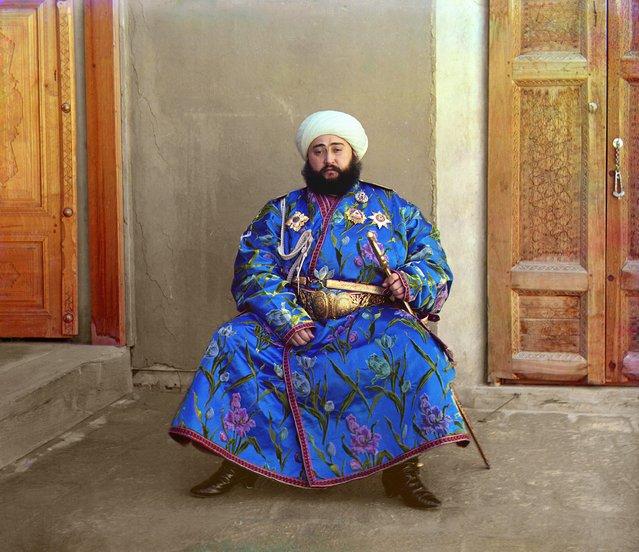 Photos by Sergey Prokudin-Gorsky. Alim Khan (1880–1944), emir of Bukhara. Russia Khanate of Bukhara, 1911