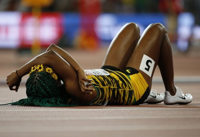 Shelly-Ann Fraser-Pryce of Jamaica reacts after winning the women's 100m event during the 15th IAAF World Championships at the National Stadium in Beijing, China August 24, 2015. (Photo by Lucy Nicholson/Reuters)