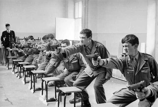 French riot police of the Gendarmerie Nationale are trained in the use of firearms at a school in Chaumont en Bassigny, eastern France. 1st November 1968. (Photo by Reg Lancaster/Express)