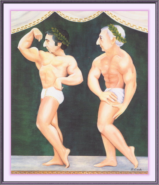 Two Greek Gods. Artwork by Beryl Cook
