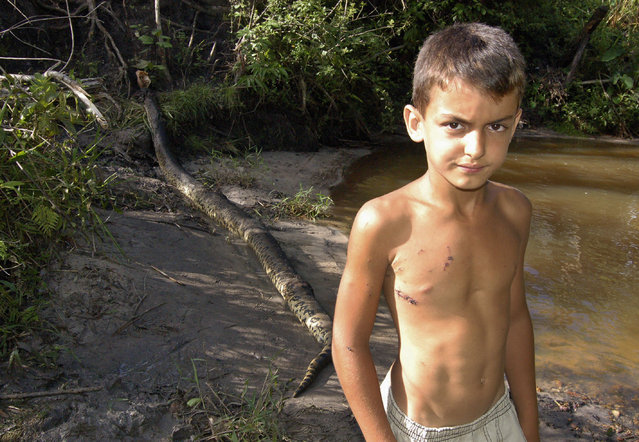Matheus Pereira de Araujo, 8, stands in front of the 15 foot anaconda that attacked him a day earlier while playing near a creek on his grandfather's farm, in Cosmorama, Brazil, February 2007. Matheus' 66-year-old grandfather, Joaquim Pereira, heard his grandson's screams and wrestled the snake for nearly half an hour before finally killing it with stones and a machete. (Photo by Glauce Sereno/Diario de Votuporanga/Reuters)