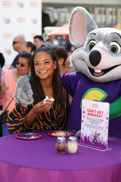 Christina Milian promotes Chuck E Cheese pizza in Hollywood, California on October 4, 2017. (Photo by  Xxplosive/Splash News and Pictures)