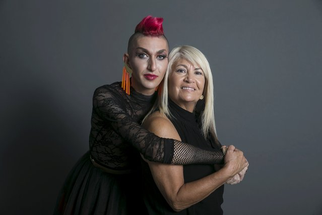 Drag queen Ronny Chokron (L), who goes by the stage name Nona Chalant, and his mother Coty Chokron pose for a photo in a studio in Tel Aviv August 22, 2015. (Photo by Baz Ratner/Reuters)