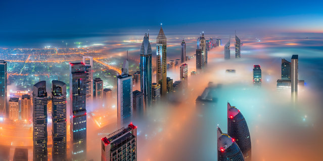 """""""Engulfed"""". A shortlisted entry in the built environment/architecture category, of downtown Dubai. (Photo by Sebastian Tontsch/Epson International Pano Awards 2017)"""