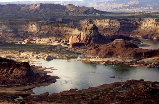 Huge areas of dry ground which would be under water when the lake is full are seen at Lake Powell near Page, Arizona, May 26, 2015. (Photo by Rick Wilking/Reuters)