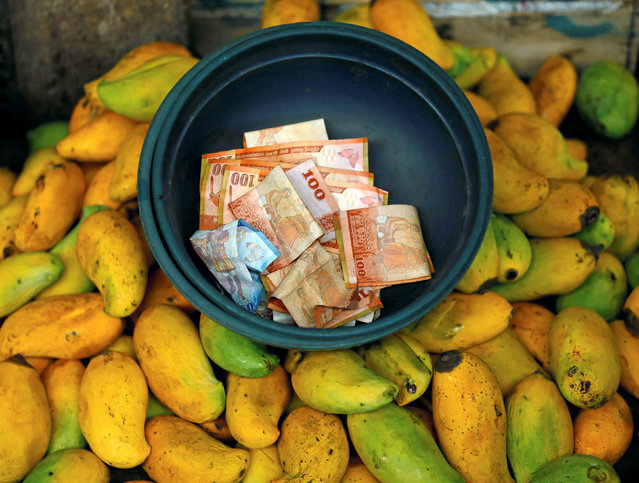 Sri Lankan currency notes are seen in a bucket at a fruits stall near a main market,in Colombo, Sri Lanka, July 29, 2016. (Photo by Dinuka Liyanawatte/Reuters)