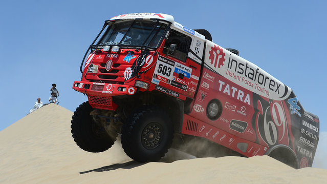 Ales Loprais of team Tatra competes in the special stage during day one of the of the 2013 Dakar Rally on January 5, 2013 in Pisco, Peru. (Photo by Shaun Botterill)