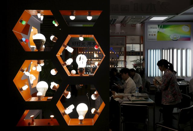 Lightbulbs are displayed at a booth during the China Import and Export Fair, also known as Canton Fair, in the southern Chinese city of Guangzhou October 15, 2015. (Photo by Bobby Yip/Reuters)