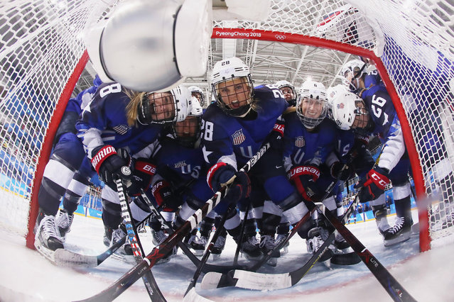 Members of Team United States pose in the goal before the Women's Ice Hockey Preliminary Round - Group A game against Olympic Athletes from Russia on day four of the PyeongChang 2018 Winter Olympic Games at Kwandong Hockey Centre on February 13, 2018 in Gangneung, South Korea. (Photo by Bruce Bennett/Getty Images)