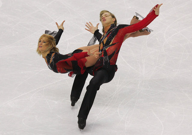 Isabelle Delobel and Olivier Schoenfelder of France perform during the Free Dance program of the figure skating during Day 10 of the Turin 2006 Winter Olympic Games on February 20, 2006 at Palavela in Turin, Italy.  (Photo by Clive Rose/Getty Images)
