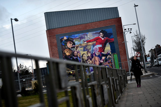 The Luminaries and Legends mural by artist Dee Craig highlighting cultural icons hailing from east Belfast including Van Morrison, George Best, CS Lewis, James Ellis and Gary Moore among others on March 1, 2018 in Belfast, Northern Ireland. (Photo by Charles McQuillan/Getty Images)