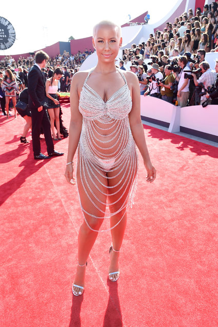 American model, television personality, and actress Amber Rose attends the 2014 MTV Video Music Awards at The Forum on August 24, 2014 in Inglewood, California. (Photo by Jeff Kravitz/FilmMagic)