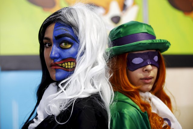 Participants wearing heroic fantasy costumes pose for a picture during the second edition of the Hero Festival in Marseille, France November 7, 2015. (Photo by Jean-Paul Pelissier/Reuters)