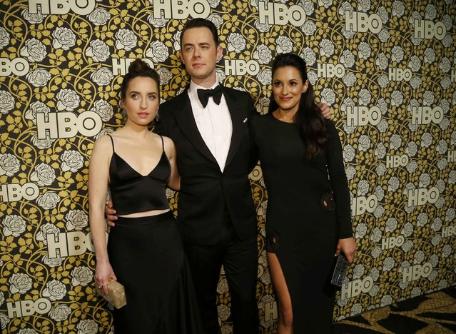 Actors Zoe Lister-Jones (L), Colin Hanks and Angelique Cabral arrive at The HBO Golden Globe After Party in Beverly Hills, California January 10, 2016. (Photo by Mario Anzuoni/Reuters)