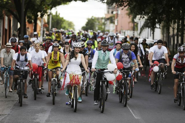 Bride Patricia Amanda Chaparro (5th L) and groom Richard Armando Ibarra (6th L) ride their bicycles while leading their wedding party in Asuncion February 21, 2015. (Photo by Jorge Adorno/Reuters)