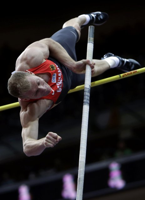 Arthur Abele of Germany competes in the men's heptathlon pole vault event during the European Indoor Championships in Prague March 8, 2015. REUTERS/David W Cerny (CZECH REPUBLIC  - Tags: SPORT ATHLETICS)