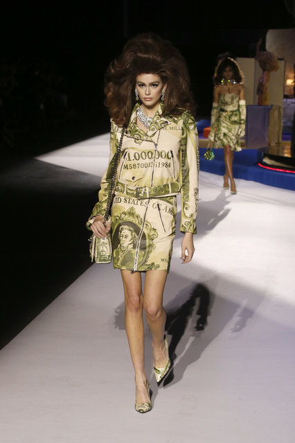 Model Kaia Gerber wears a creation as part of the Moschino women's Fall-Winter 2019-2020 collection, that was presented in Milan, Italy, Thursday, February 21, 2019. (Photo by Antonio Calanni/AP Photo)